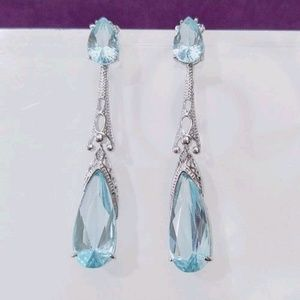 😍 Elegant! Blue Topaz Tear Drop Earrings